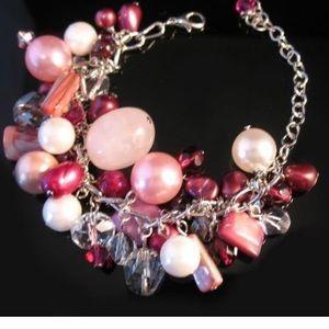 stunning mixed stone bubble bracelet necklace